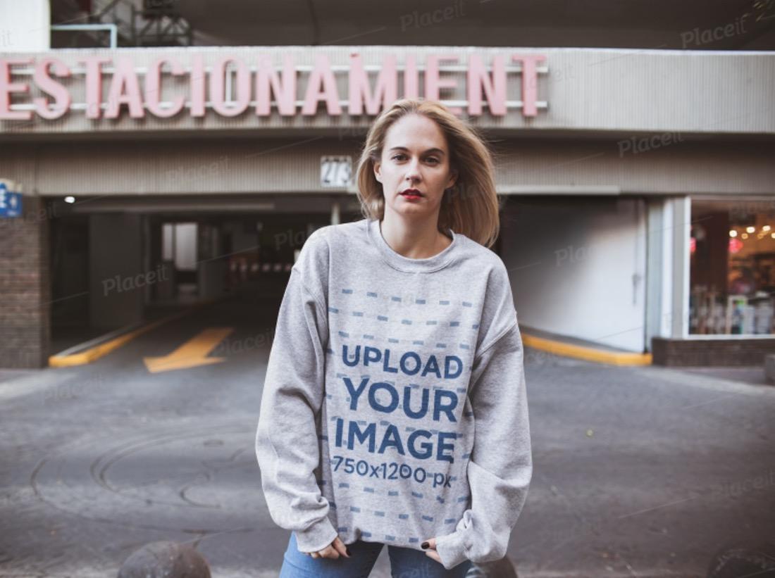 mockup of a blonde woman wearing an oversized sweatshirt