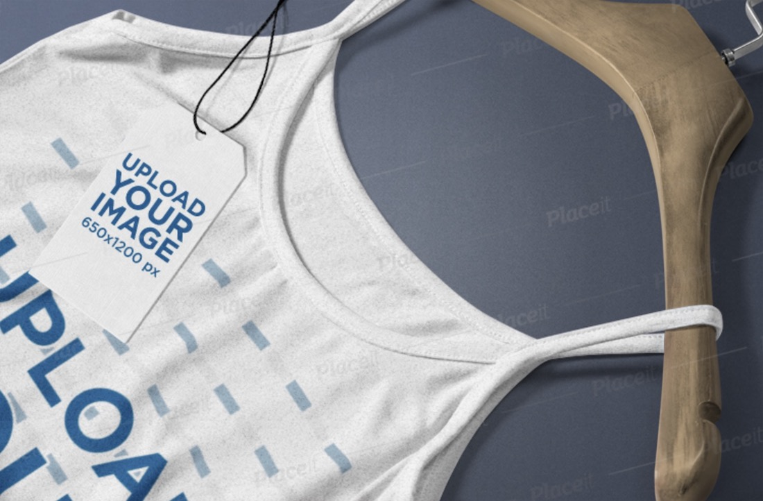 mockup of a brand tag lying on a tank top