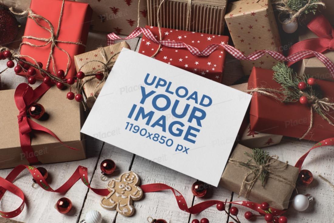 mockup of a christmas invitation card