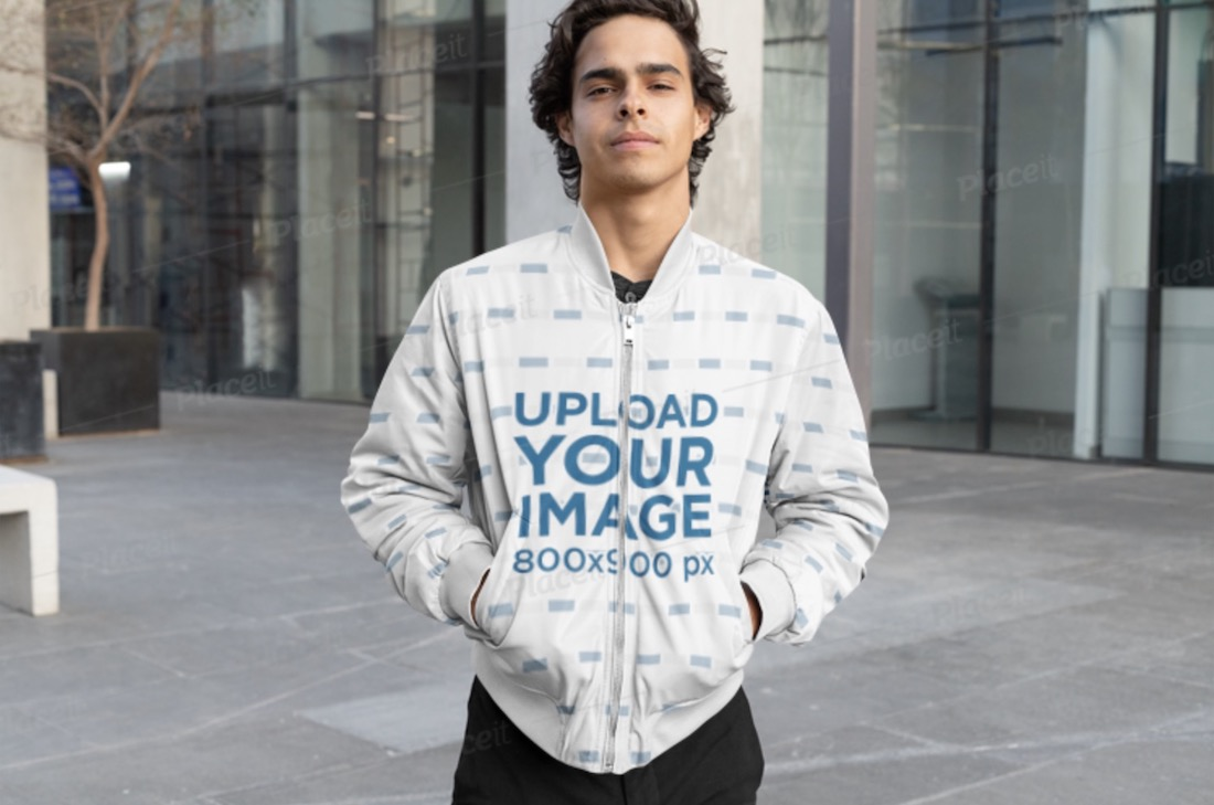mockup of a cool man wearing a sublimated bomber jacket