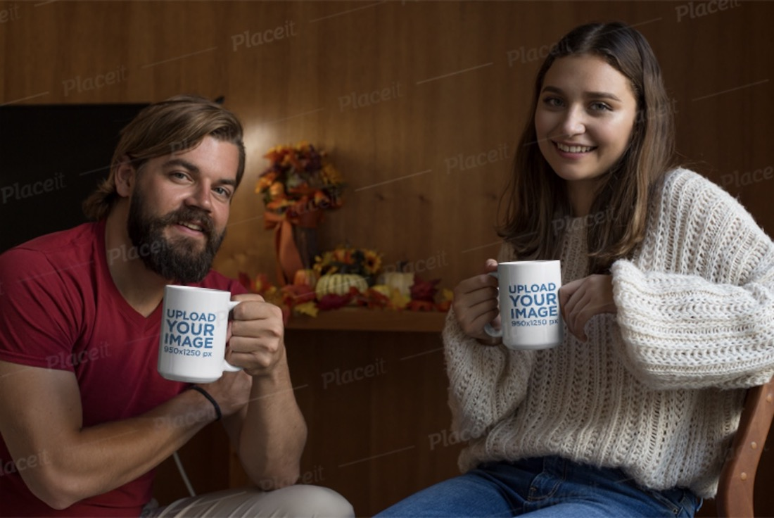 mockup of a couple holding a 15 oz coffee mug
