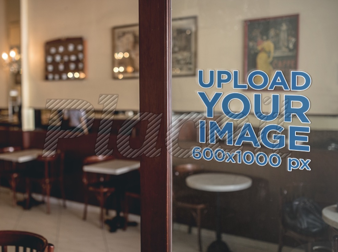 mockup of a door window decal inside a coffee shop