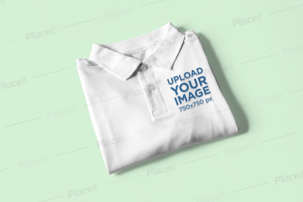 mockup-of-a-folded polo shirt placed on a solid surface