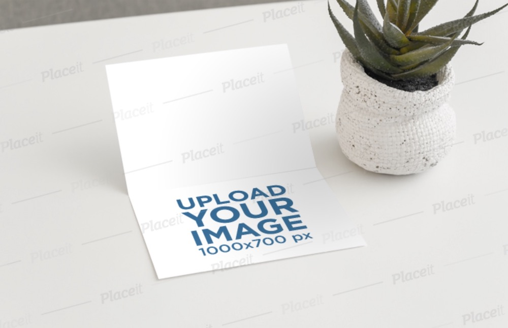 mockup of a greeting card in a minimalist setting