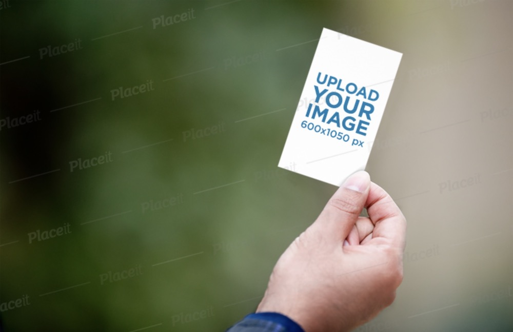 mockup of a hand holding a vertical business card