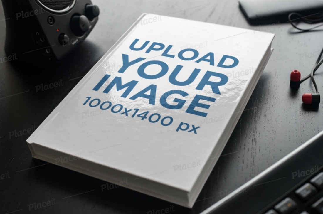 mockup of a hard cover book on a table