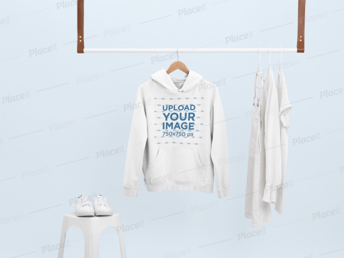 mockup of a hoodie hanging