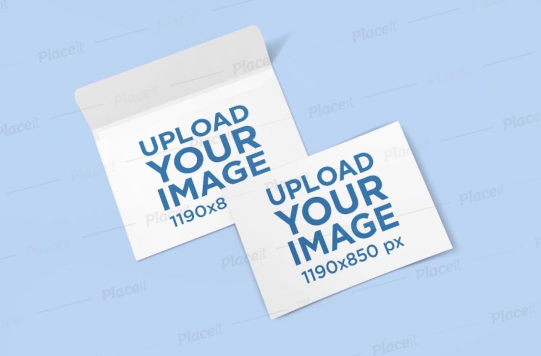 mockup of a horizontal postcard and an envelope