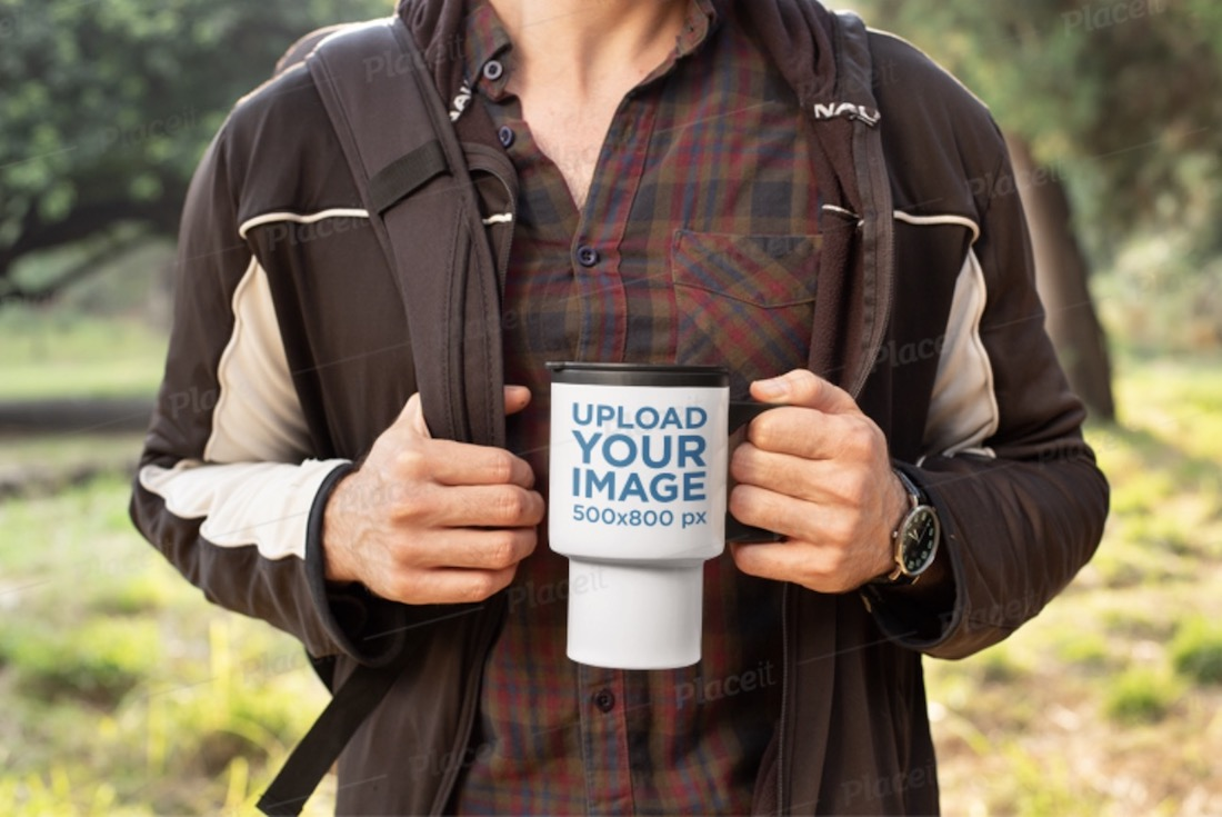 mockup of a man hiking with his travel mug