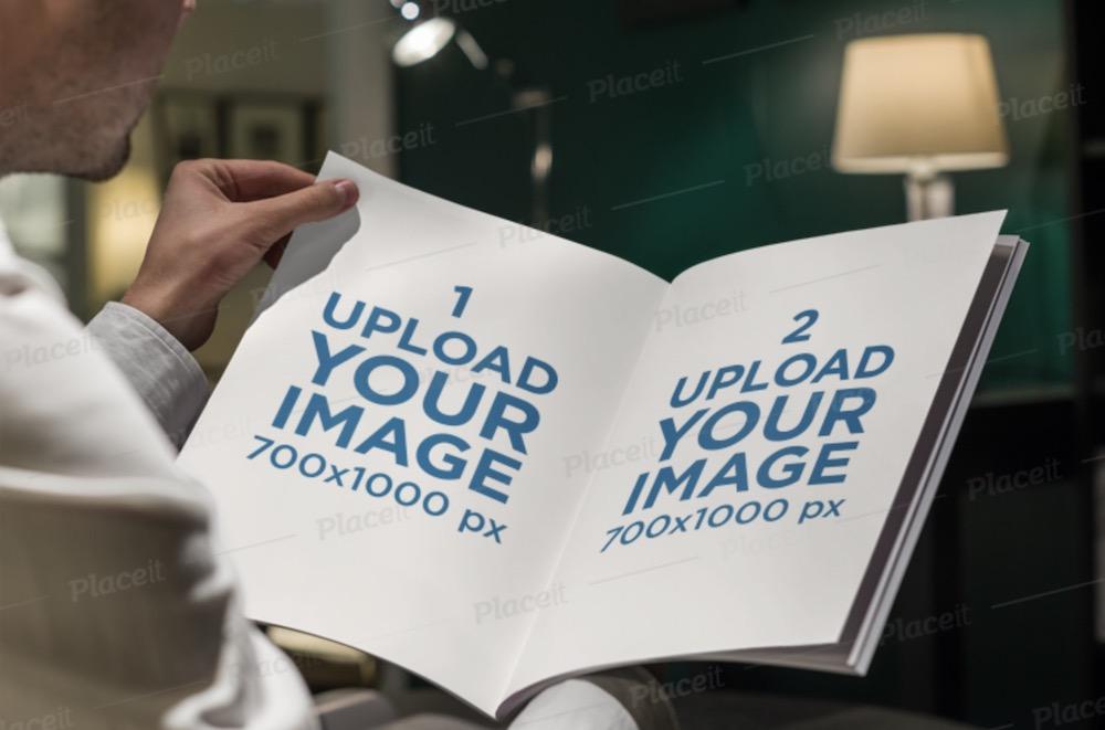 mockup of a man reading a magazine ad
