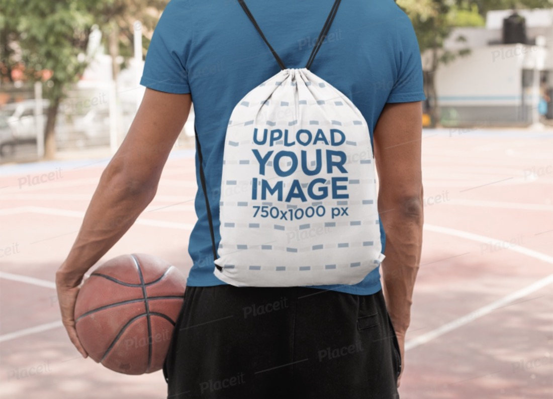 mockup of a man with a drawstring bag