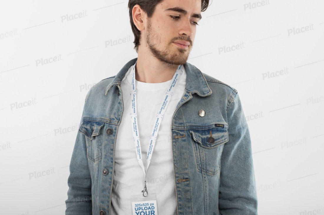 mockup of a man with a lanyard and badge holder
