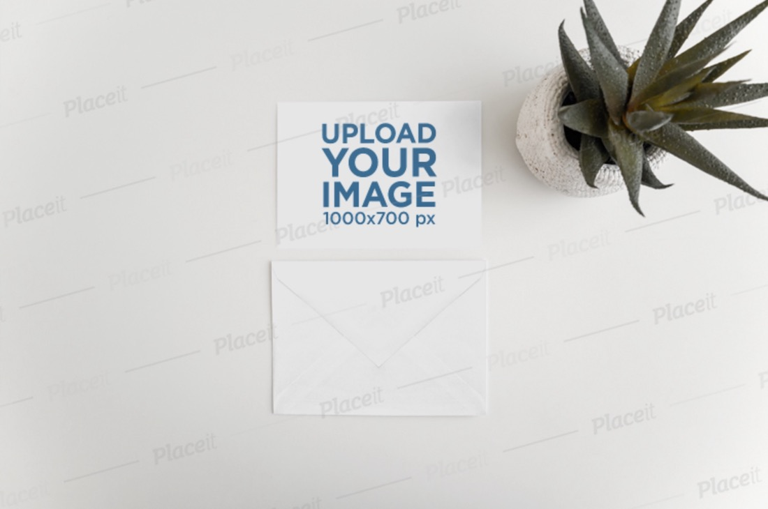 mockup of a postcard and an envelope with a desert plant