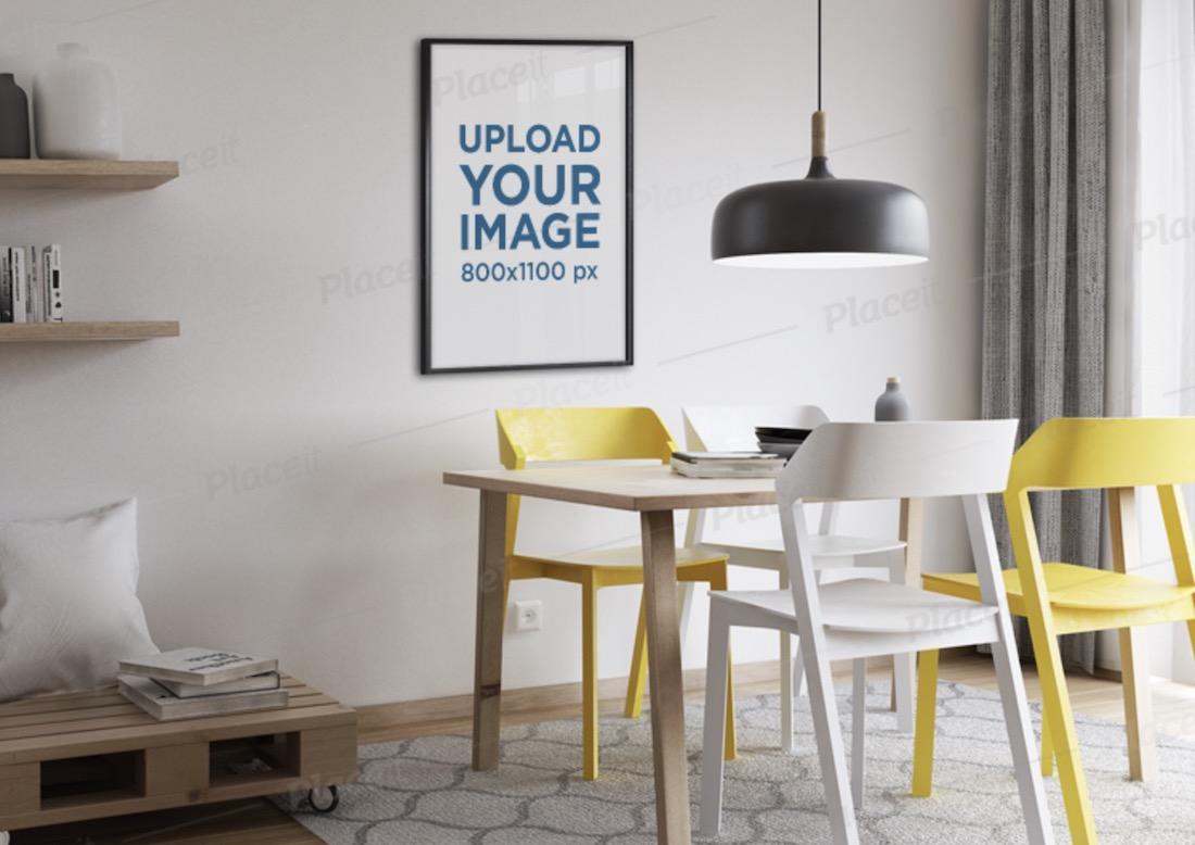 mockup of a poster frame hanging on a modern living room