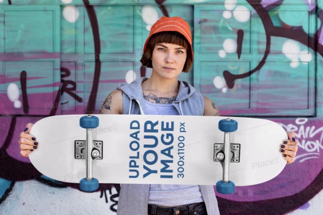mockup of a rad woman holding a skateboard