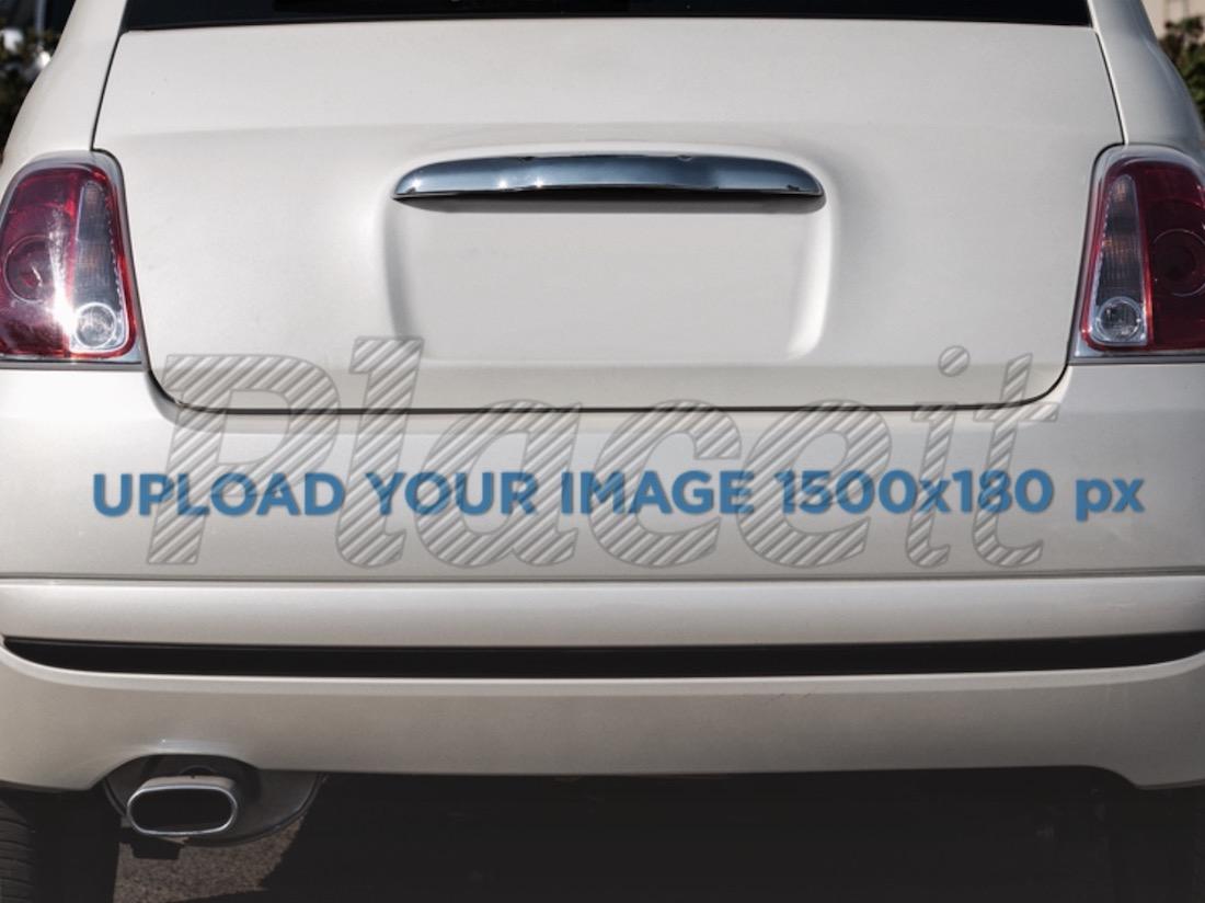 mockup of a sticker on a car bumper
