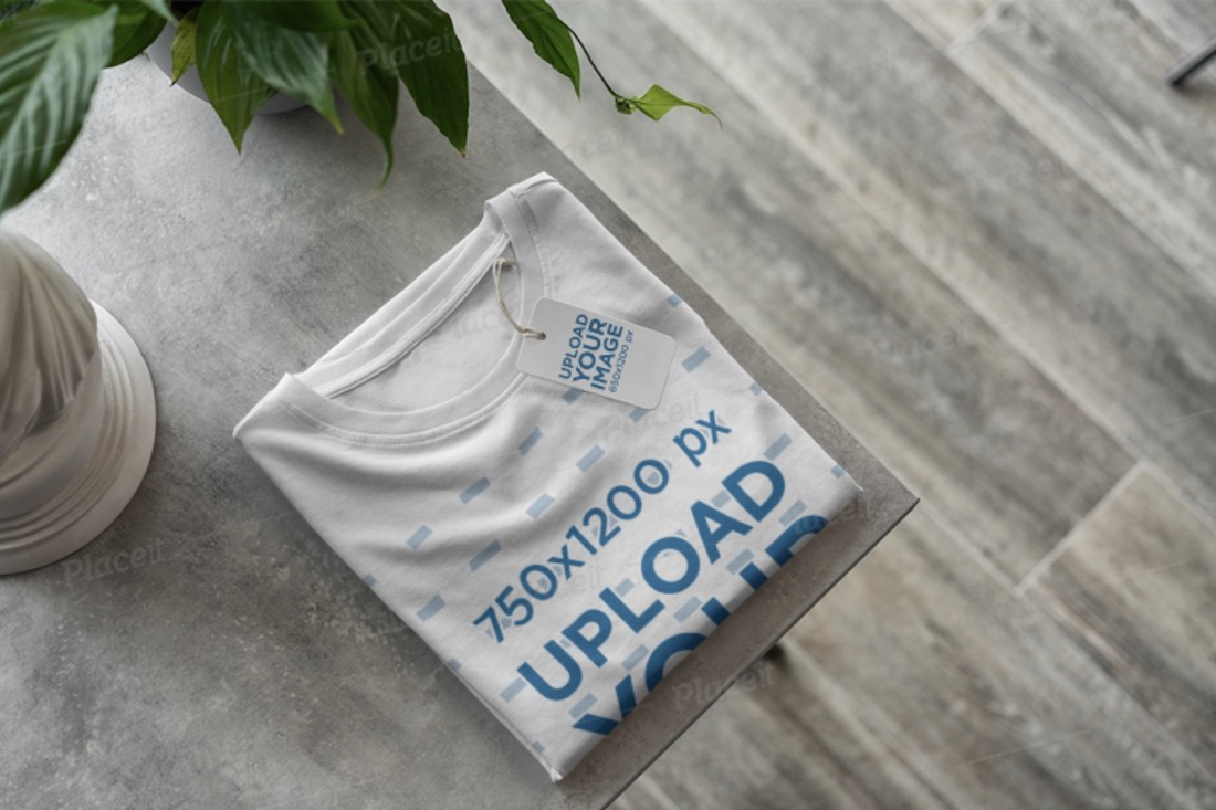 mockup of a t-shirt with a brand tag