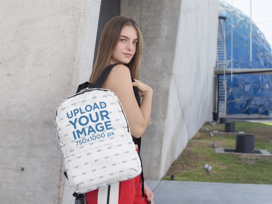 mockup of a teen carrying a backpack