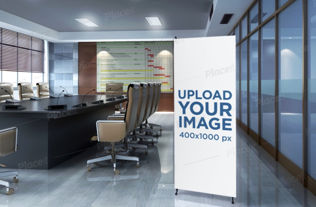 mockup of a vertical banner standing in a meeting room