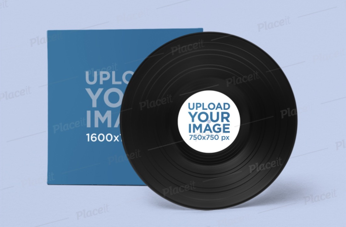 mockup of a vinyl record in a minimalistic setting