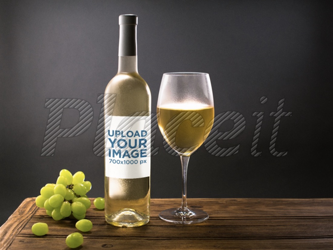 mockup of a white wine glass bottle