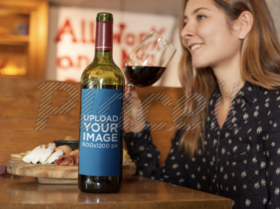 mockup of a wine bottle in a restaurant