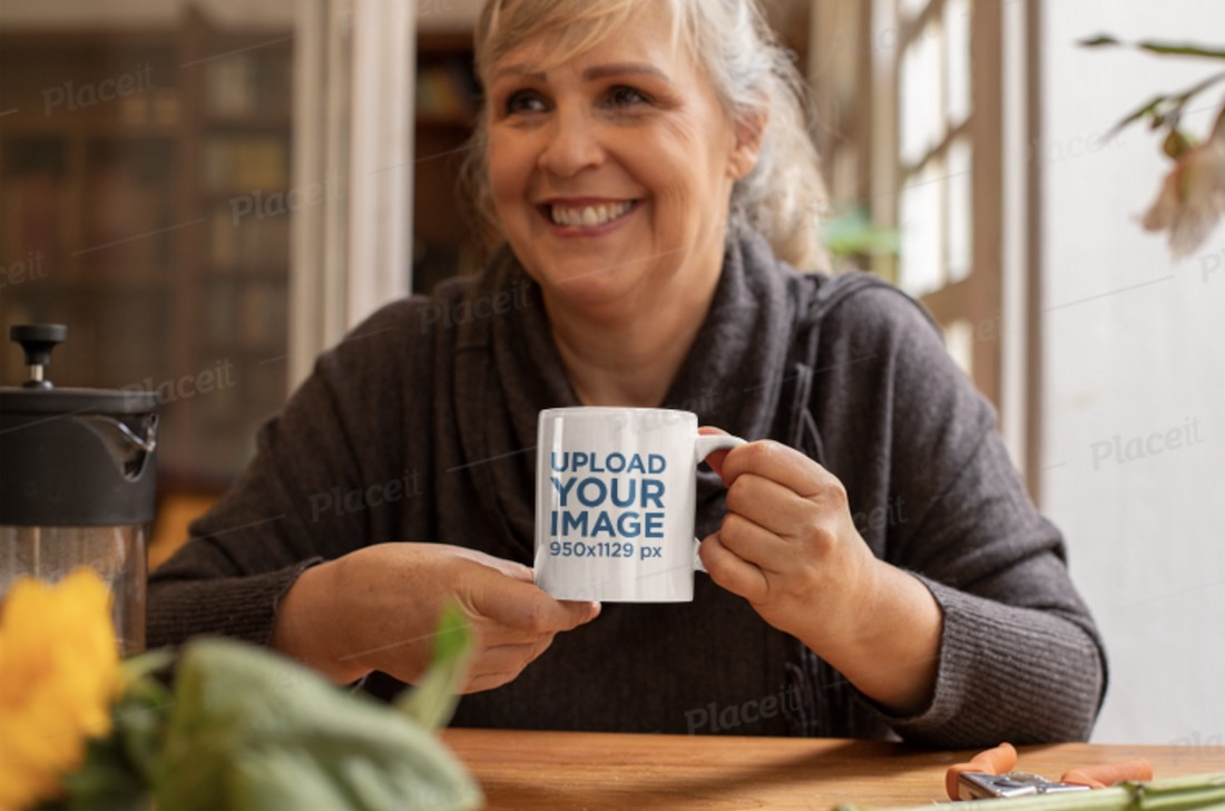 mockup of a woman drinking from an 11 oz mug
