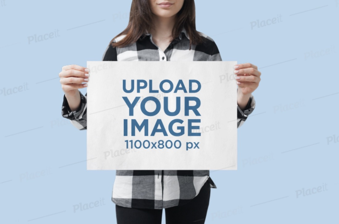 mockup of a woman holding a horizontal poster