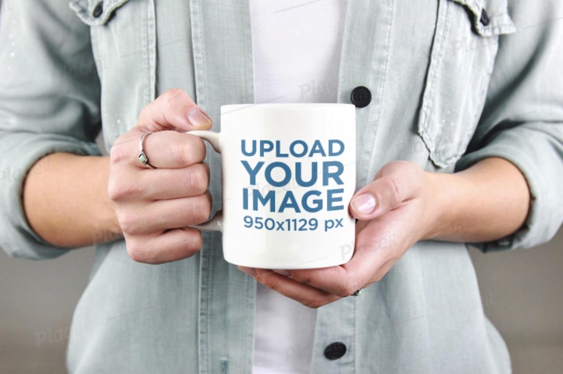 mockup of a woman holding her coffee mug