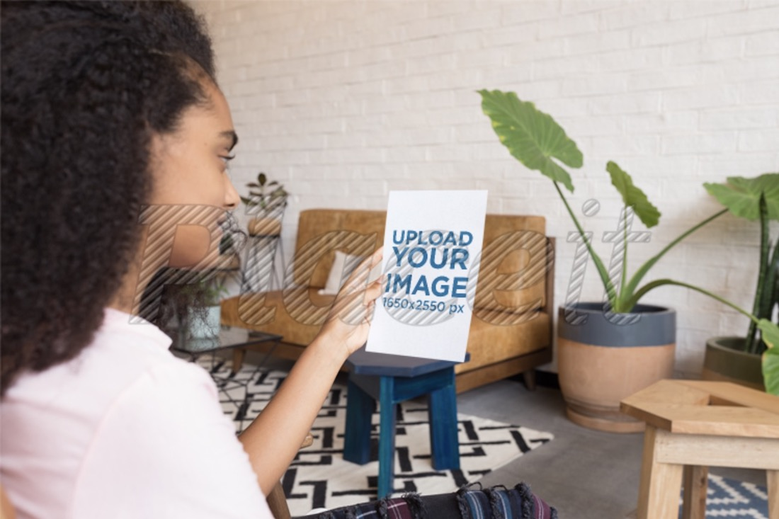 mockup of a woman looking at a pamphlet