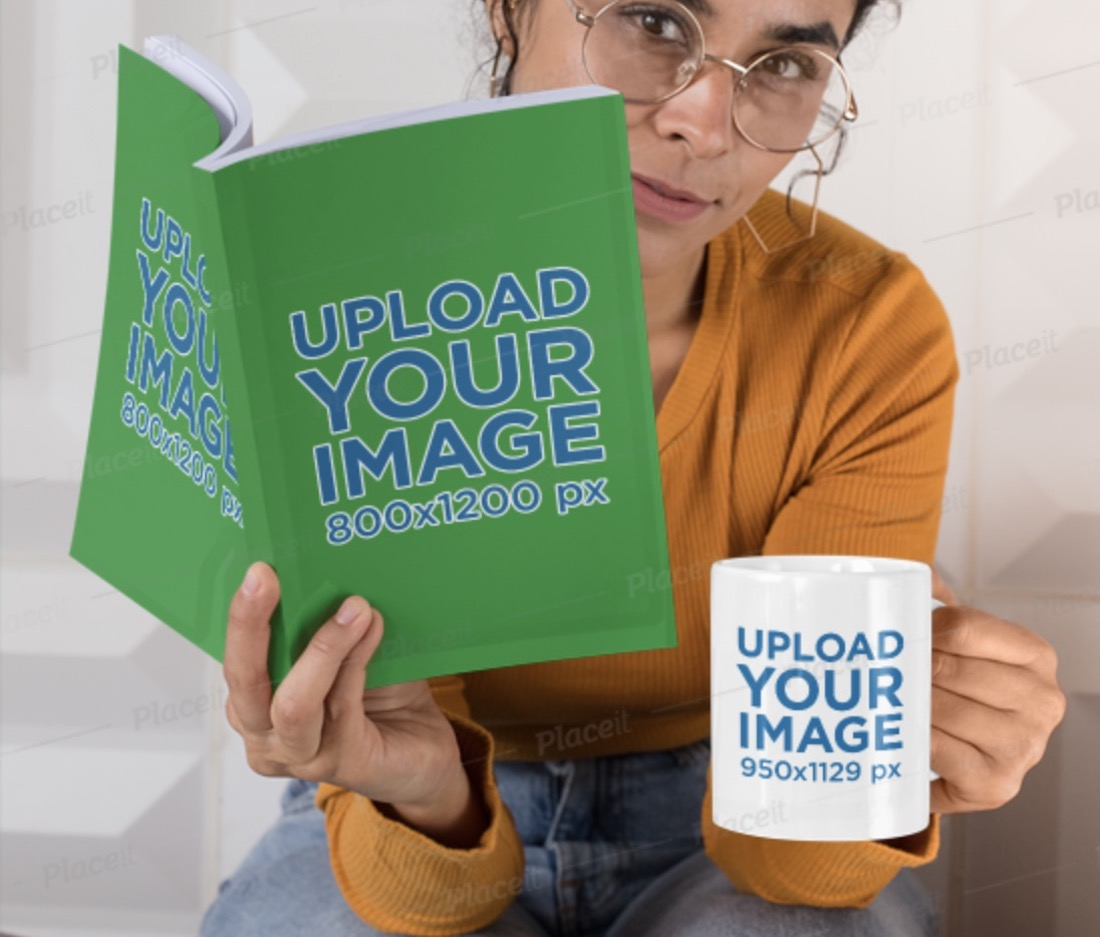 mockup of a woman with glasses holding a mug and a book