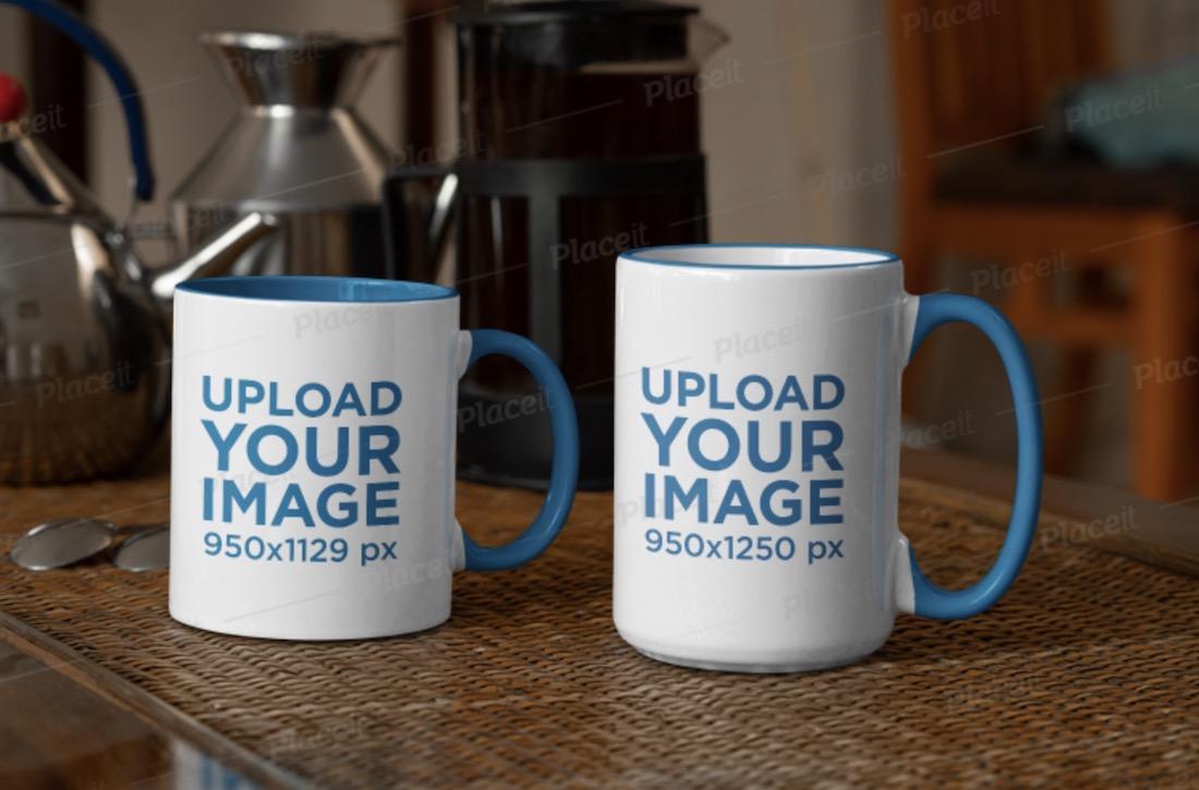 mockup of an 11 oz mug and a 15 oz mug in a kitchen