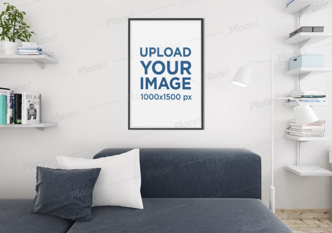 mockup of an art print frame in a modern living room