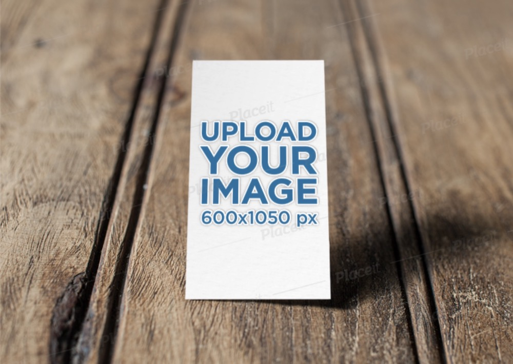mockup of an embossed vertical business card