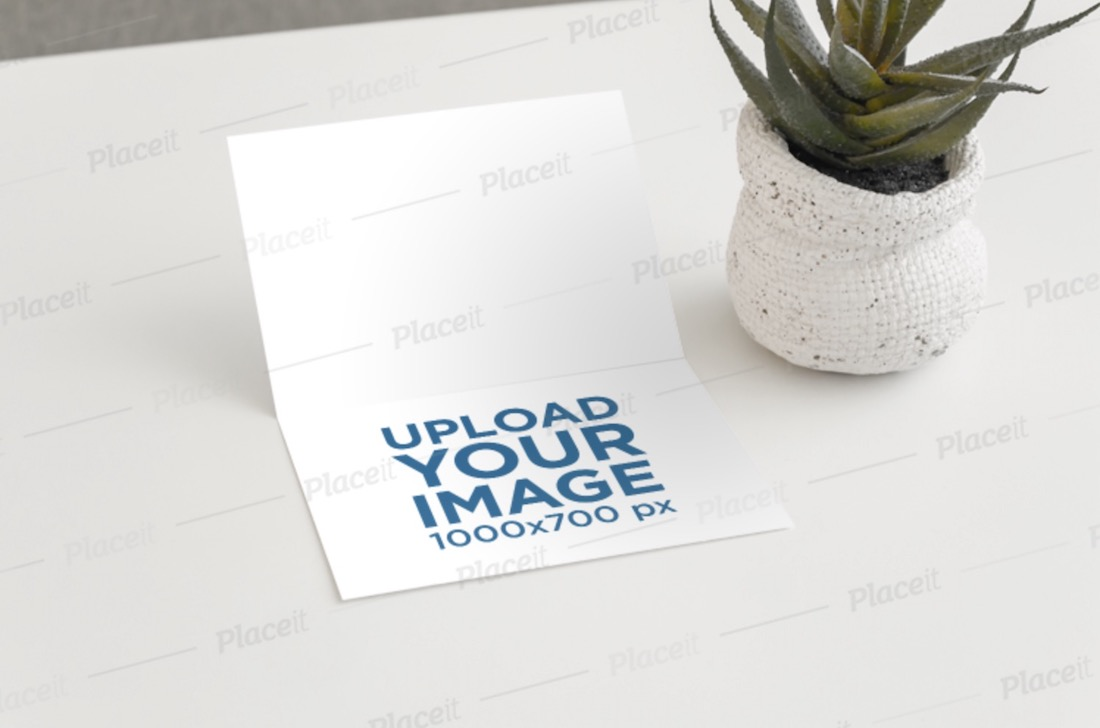 mockup of an invitation card in a minimalist setting