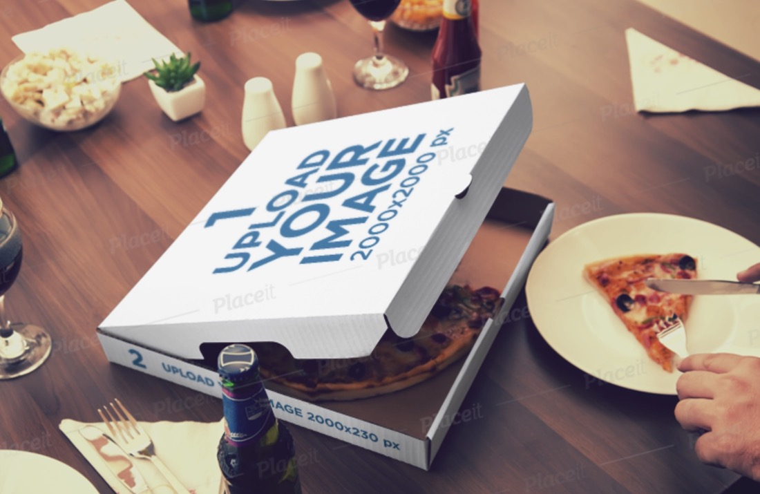 mockup of an open pizza box