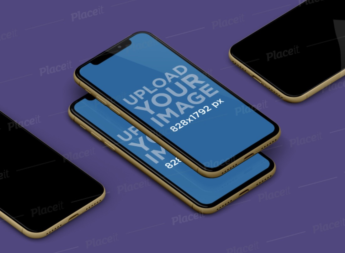 mockup of multiple iphones xr floating in a plain background
