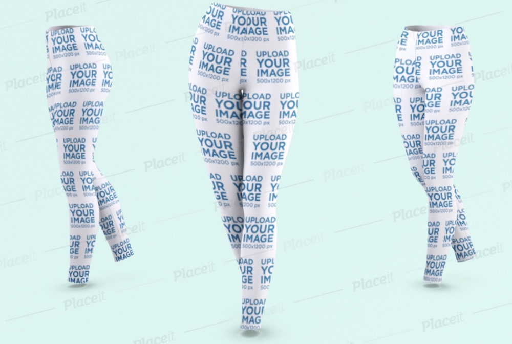 mockup of thee ghosted women's leggings in a walking pose