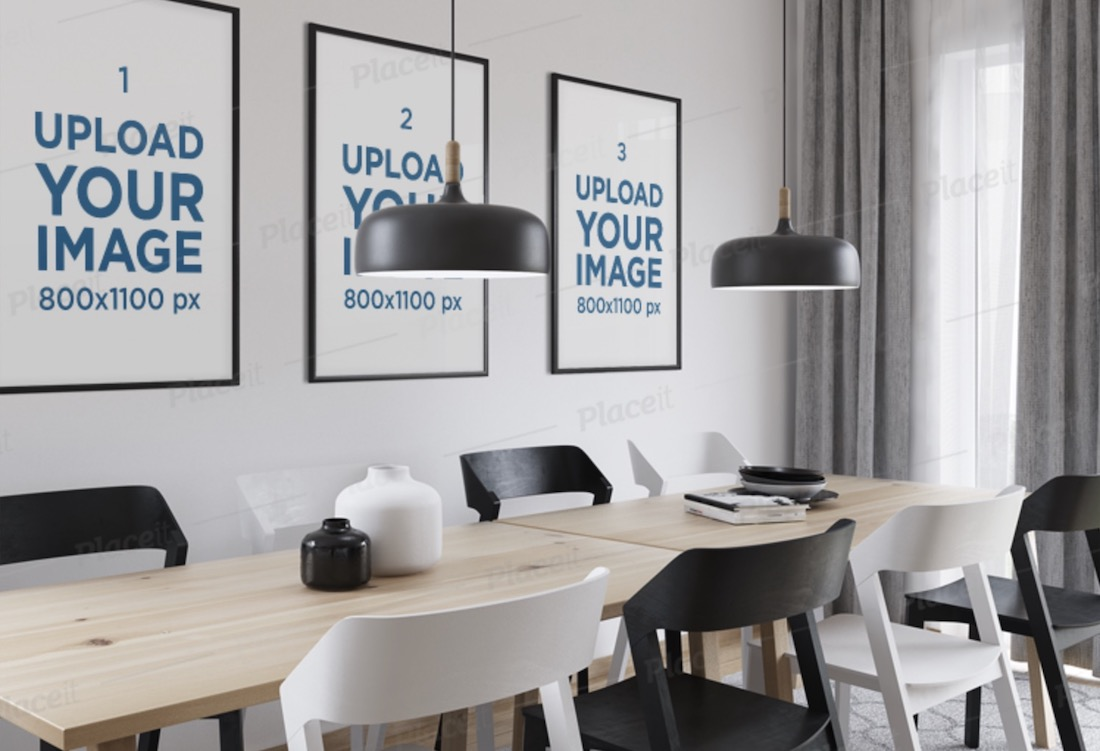 mockup of three art print placed in a dining room