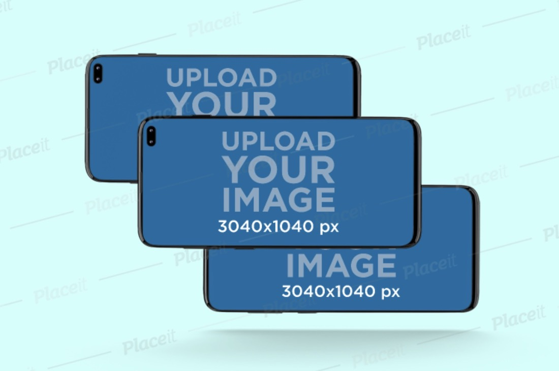 mockup of three overlapped samsung galaxy s10 in landscape position