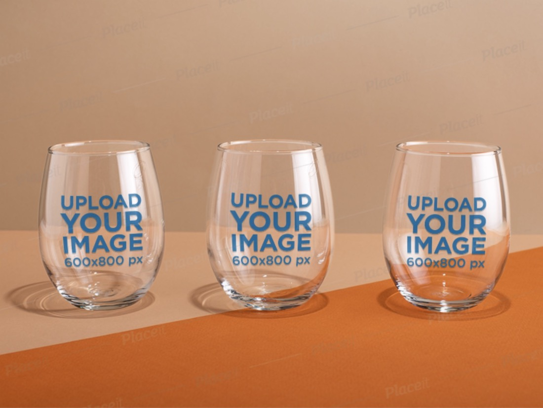 mockup of three stemless wine glasses