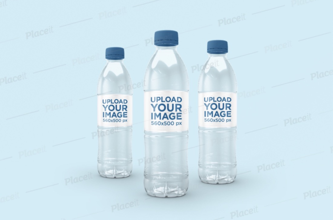 mockup of three water bottles
