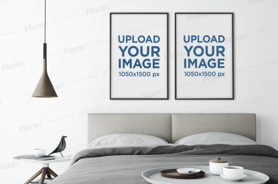 mockup of two art prints in a modern and minimalistic bedroom