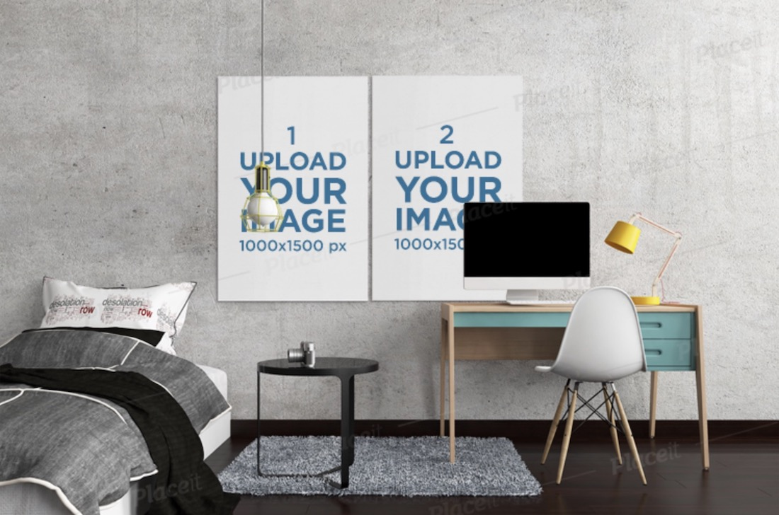 mockup of two art prints on a bedroom wall
