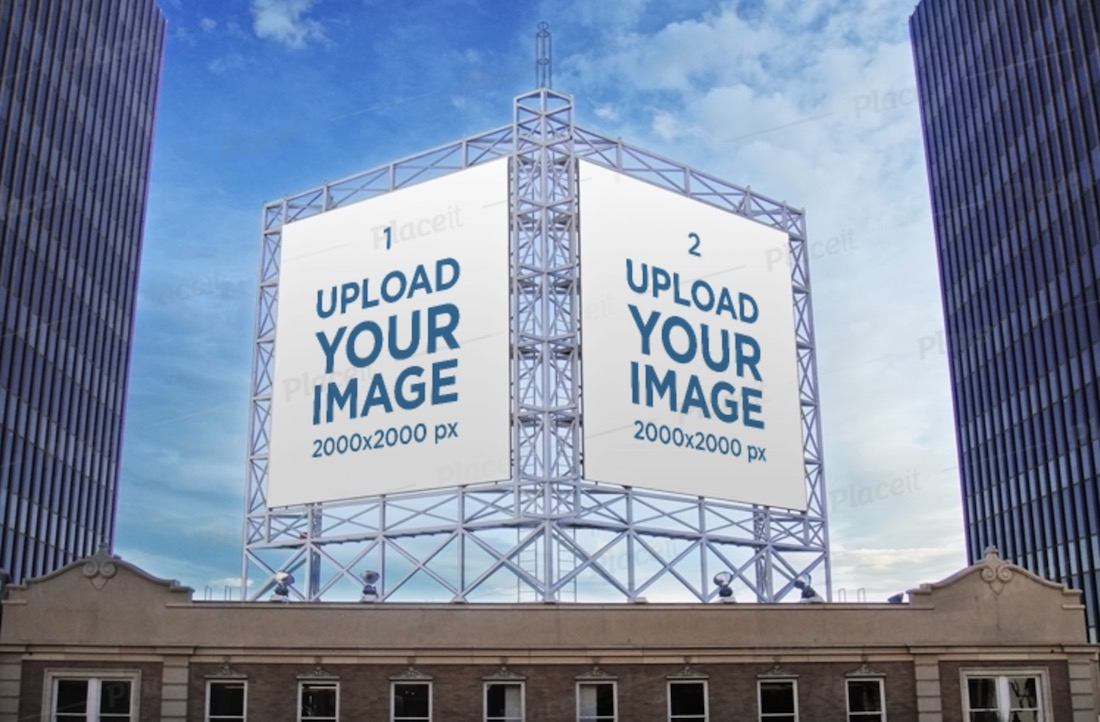mockup of two billboards placed on a metal structure