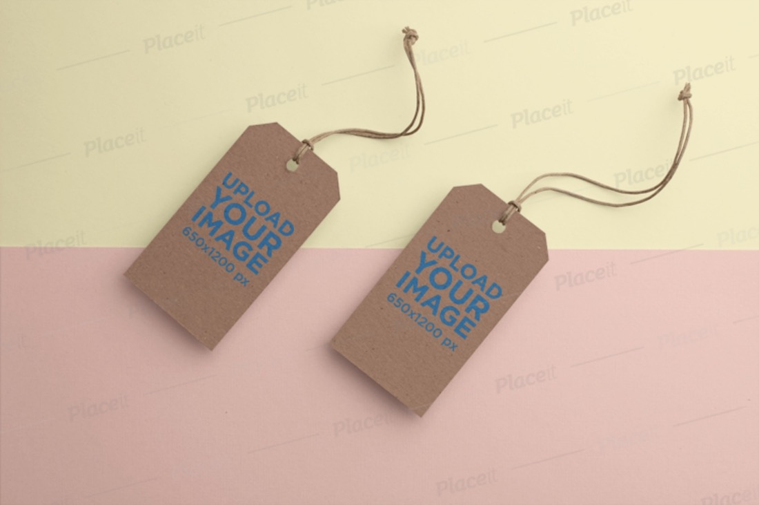 mockup of two brand tags with a two colored background