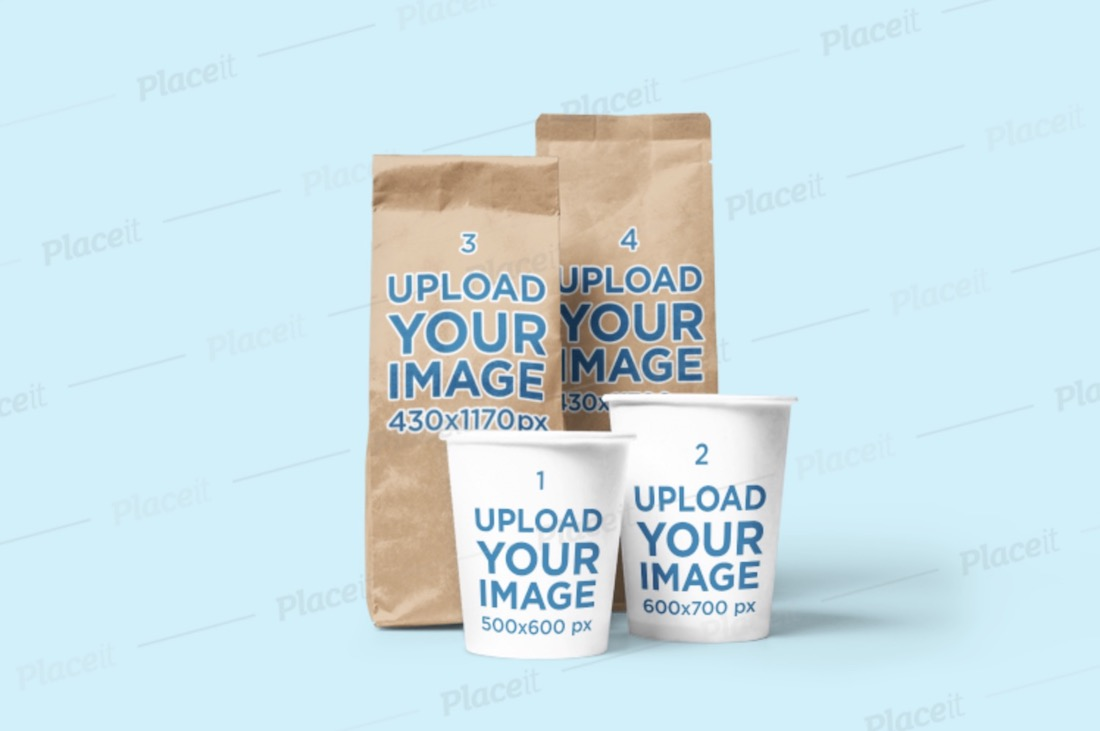 mockup of two coffee bags and two coffee cups