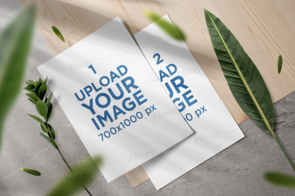 mockup of two letterheads featuring plants