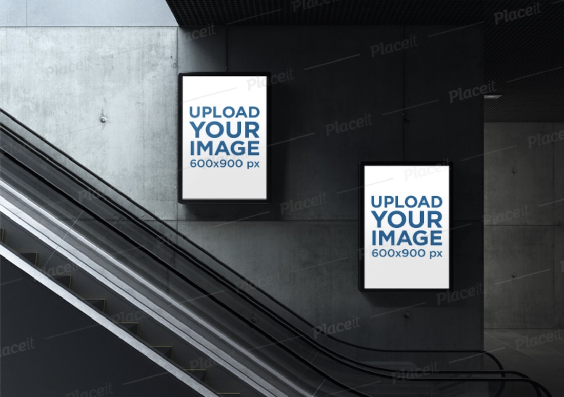 mockup of two mupis by the escalator of an underground station
