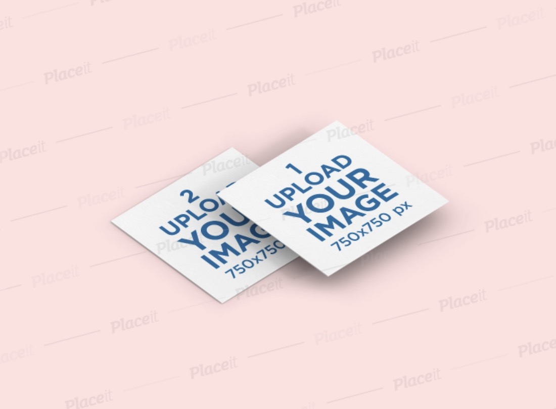 mockup of two overlapping square business cards